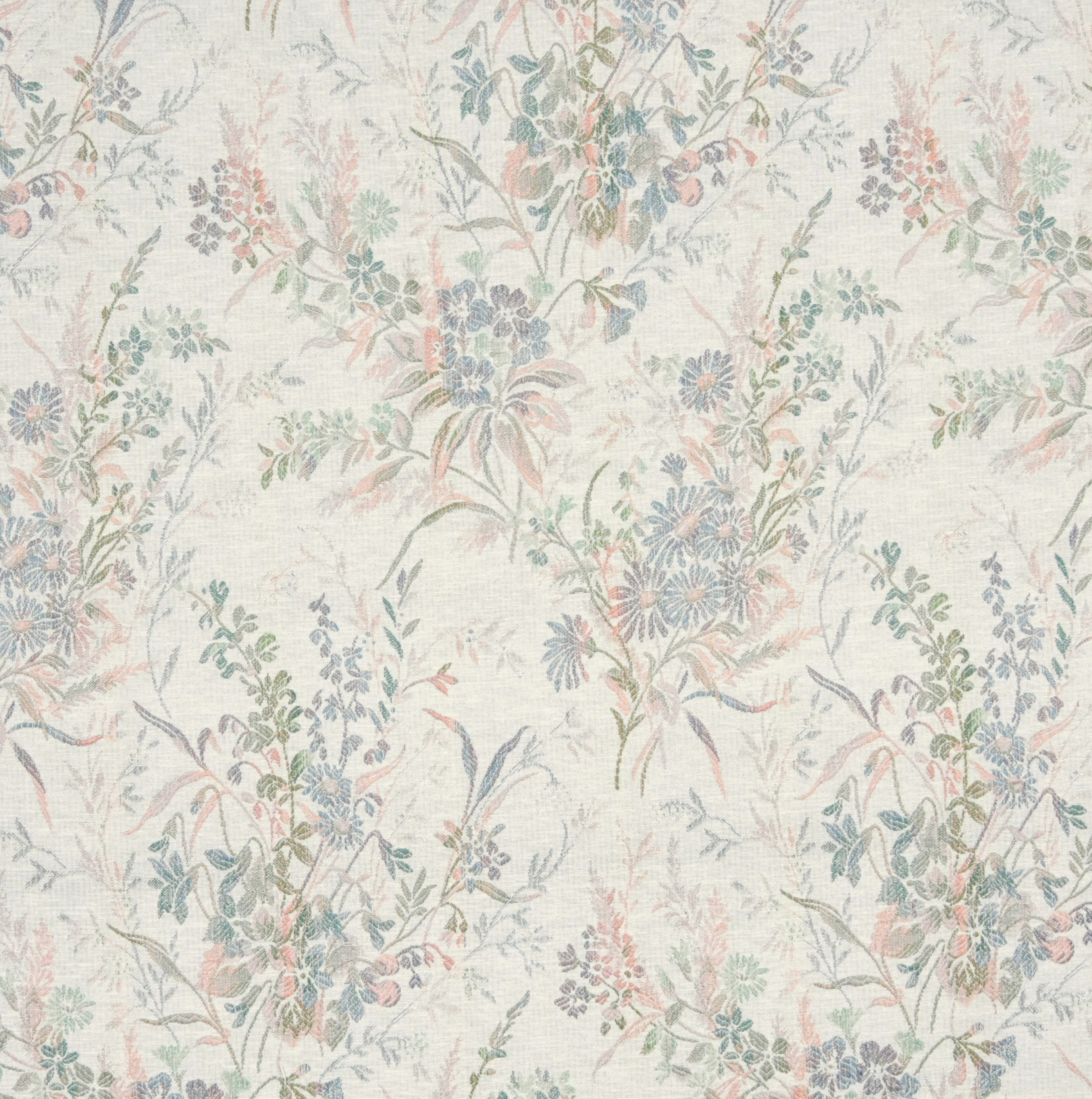 Meadow Coral And Light Blue Floral Damask Upholstery Fabric