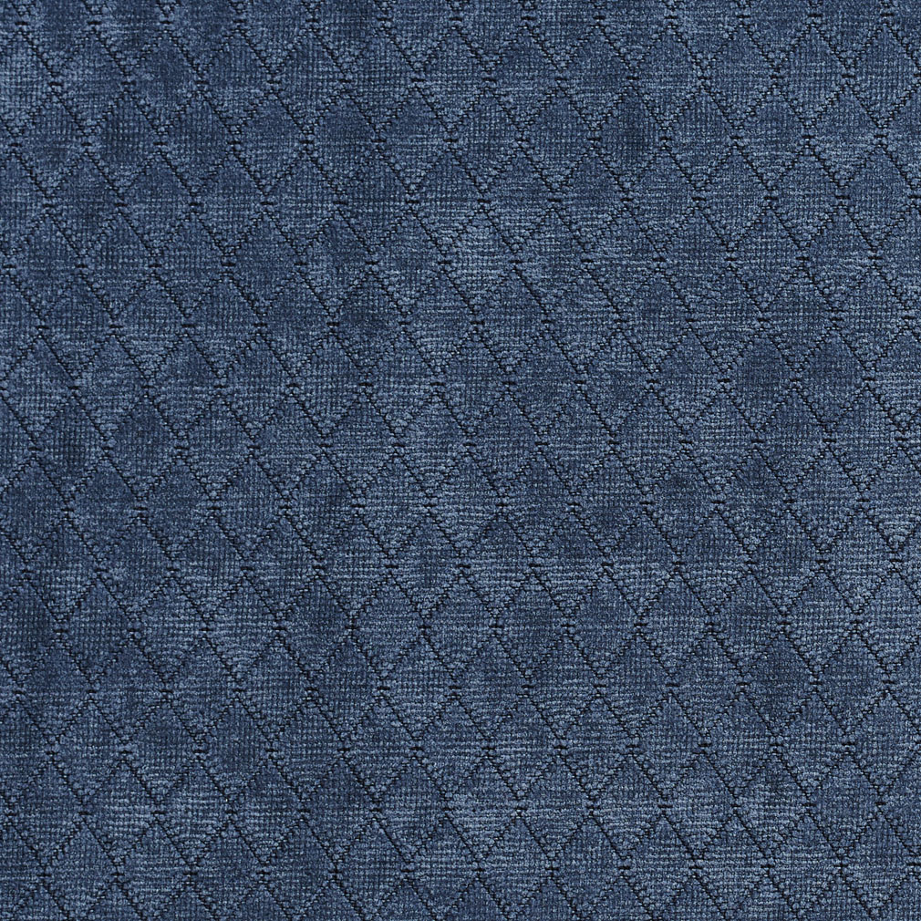 Atlantic Dark Blue Small Geometric Diamond Chenille