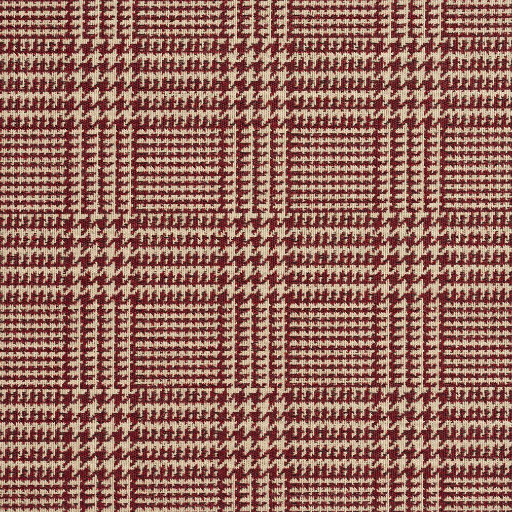 Beige And Burgundy Plaid Country Damask Upholstery Fabric
