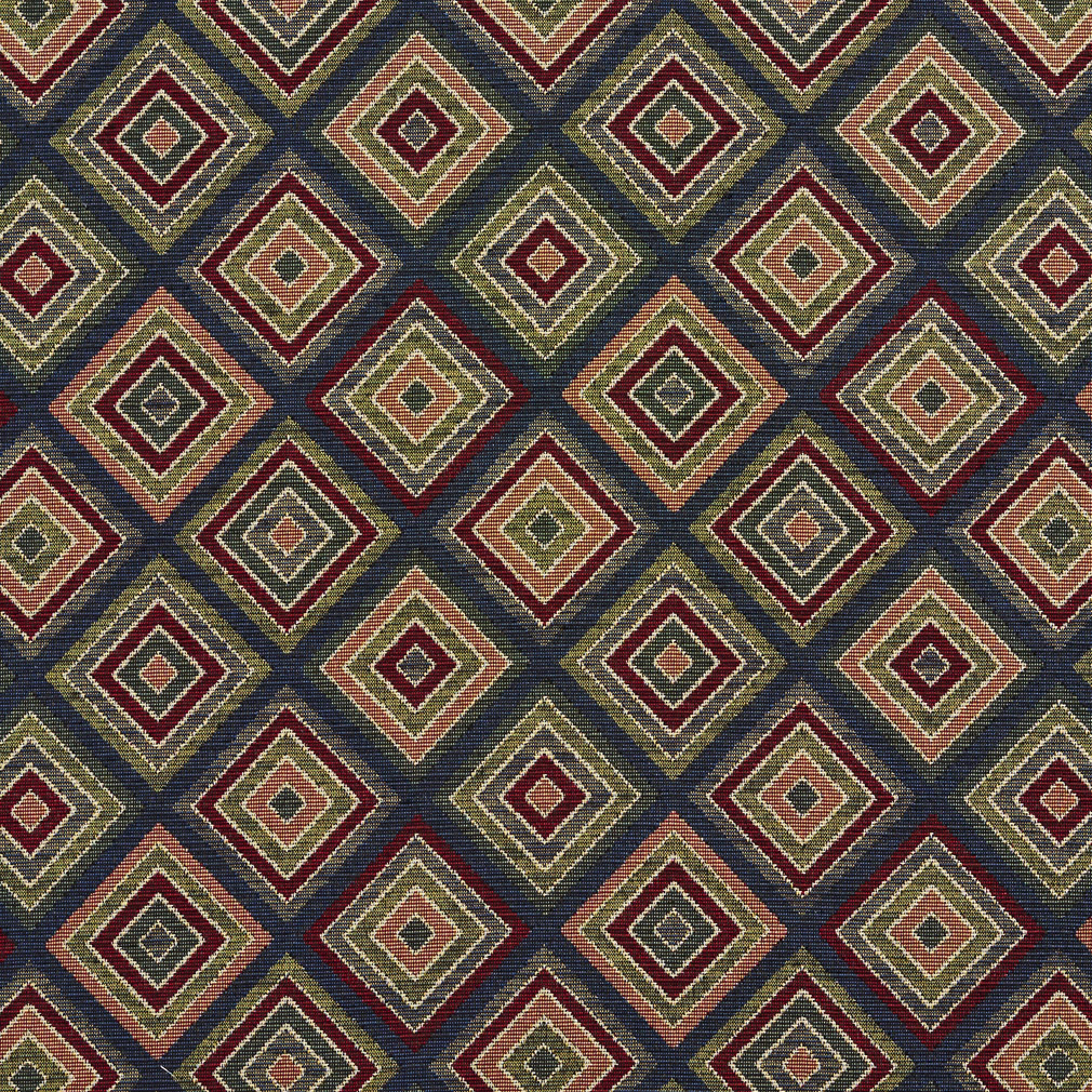 Navy Diamond Burgundy And Coral Abstract Tapestry Drapery