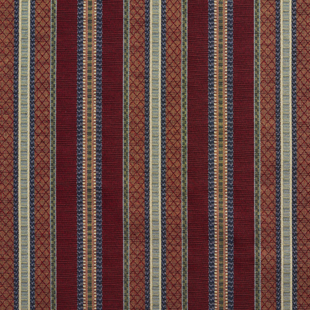 Merlot Stripe Beige And Burgundy Country Tapestry Drapery