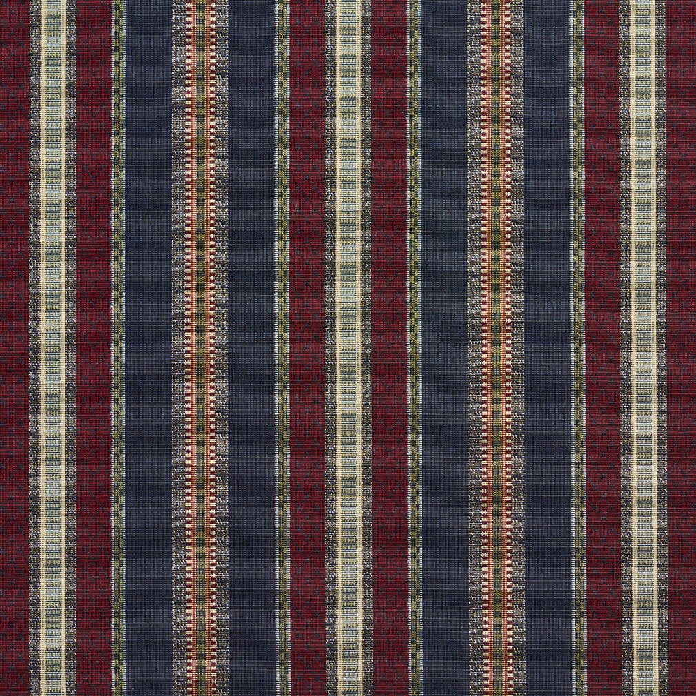 Navy Stripe Burgundy And Green Country Tapestry Drapery