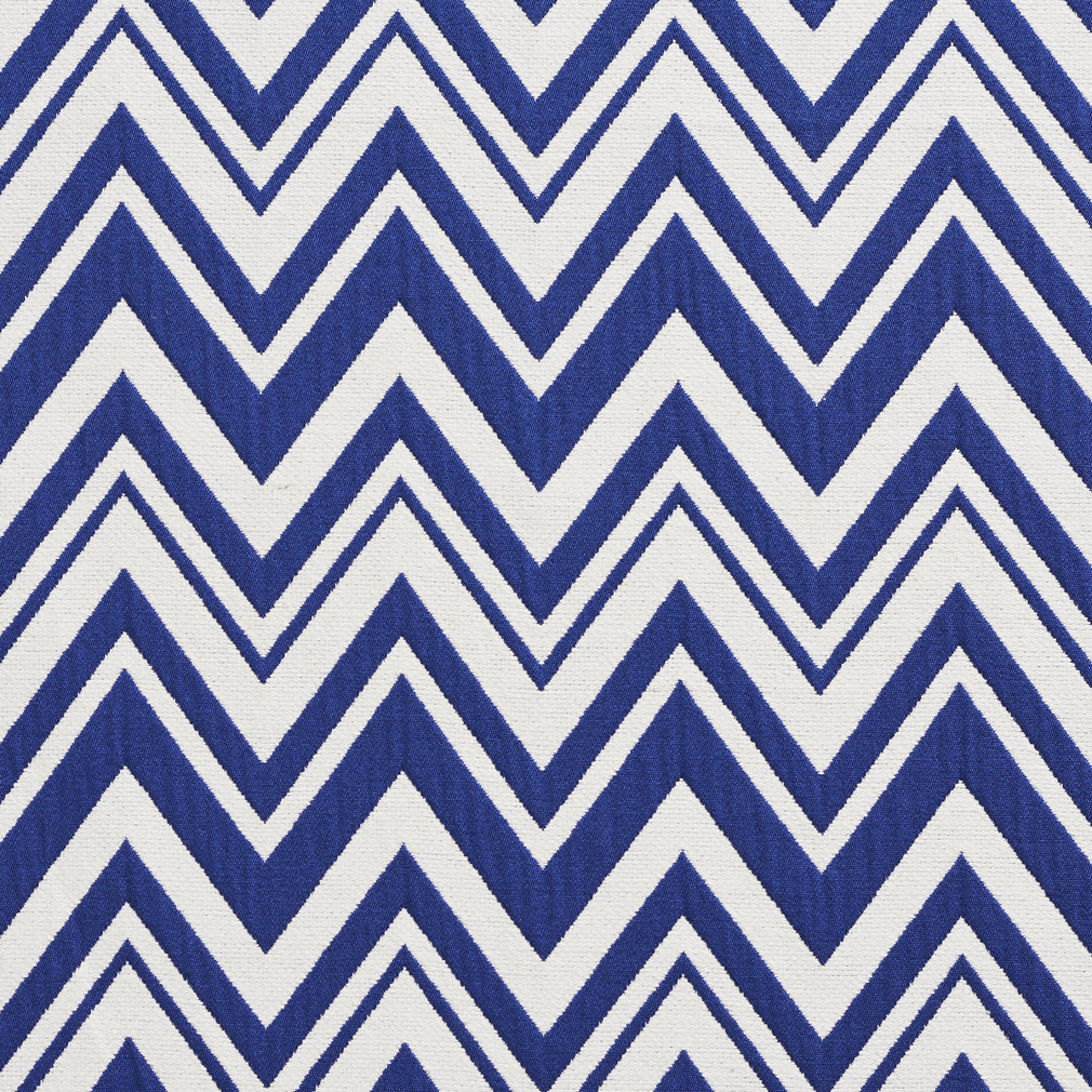 Dark Blue And White Chevron Pattern Woven Brocade