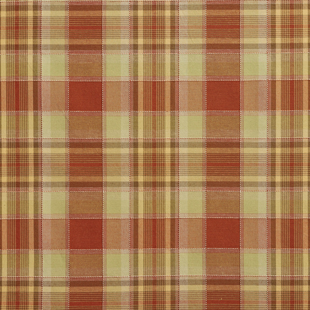 Coral And Light Green Cabin Look Plaid Damask Upholstery