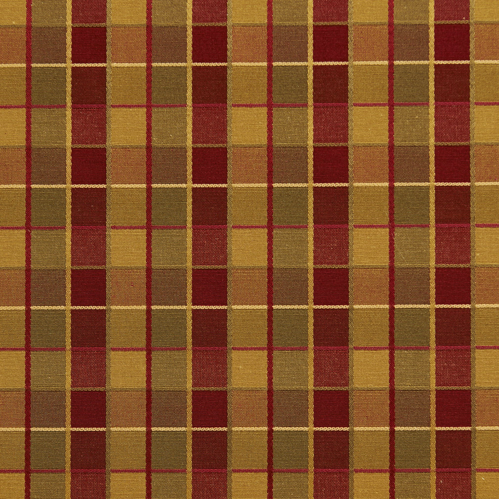 Burgundy And Gold Shiny Plaid Damask Upholstery Fabric