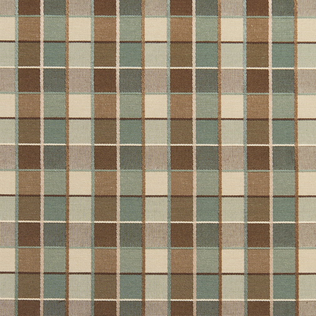 Beige Brown And Light Green Shiny Plaid Damask Upholstery
