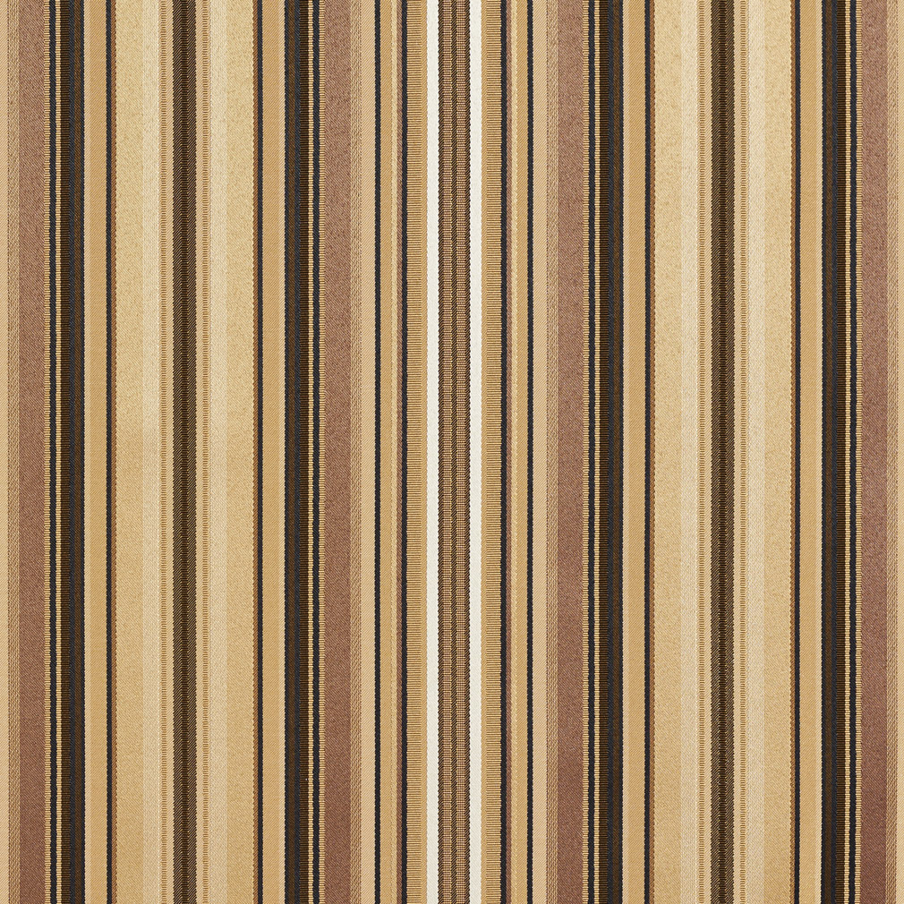 Beige And Brown Shiny Stripe Damask And Silk Upholstery Fabric
