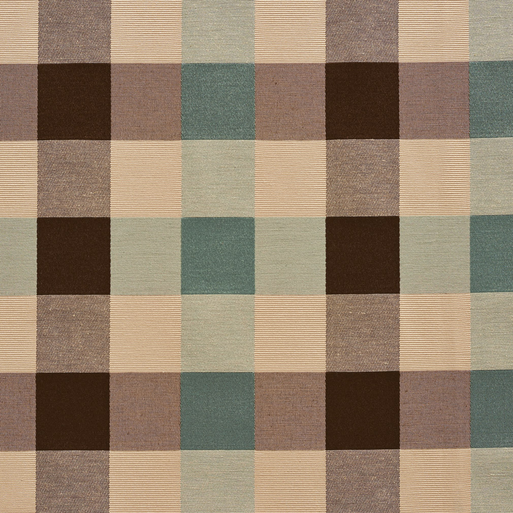 Aqua Brown And Beige Shiny Plaid Damask Upholstery Fabric
