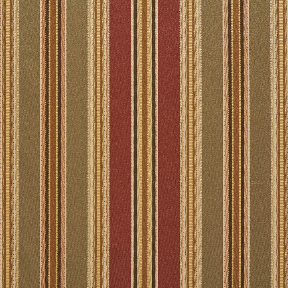Beige Red And Coral Stripe Damask And Silk Upholstery Fabric