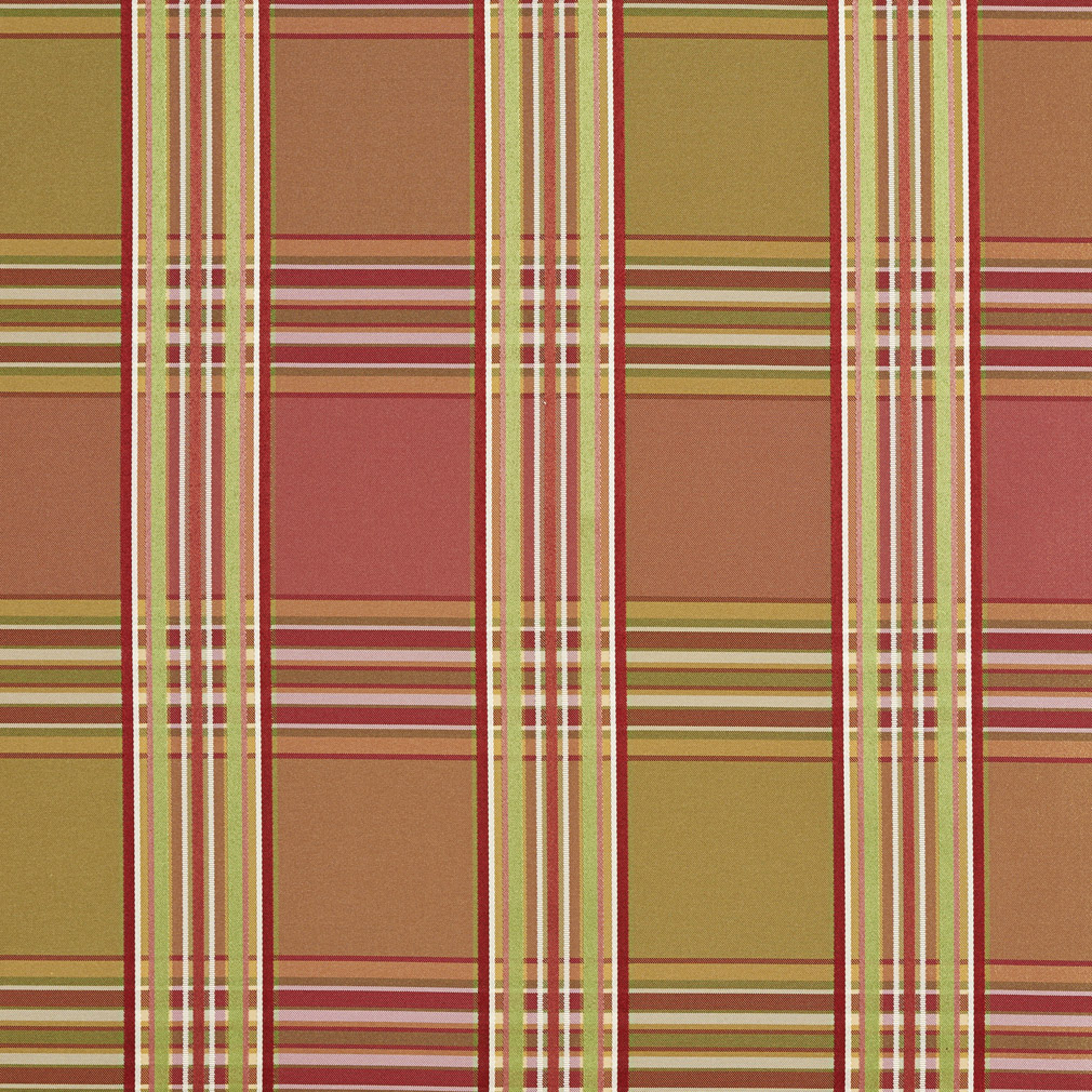 Beige Red And Light Green Plaid Woven Damask Upholstery Fabric