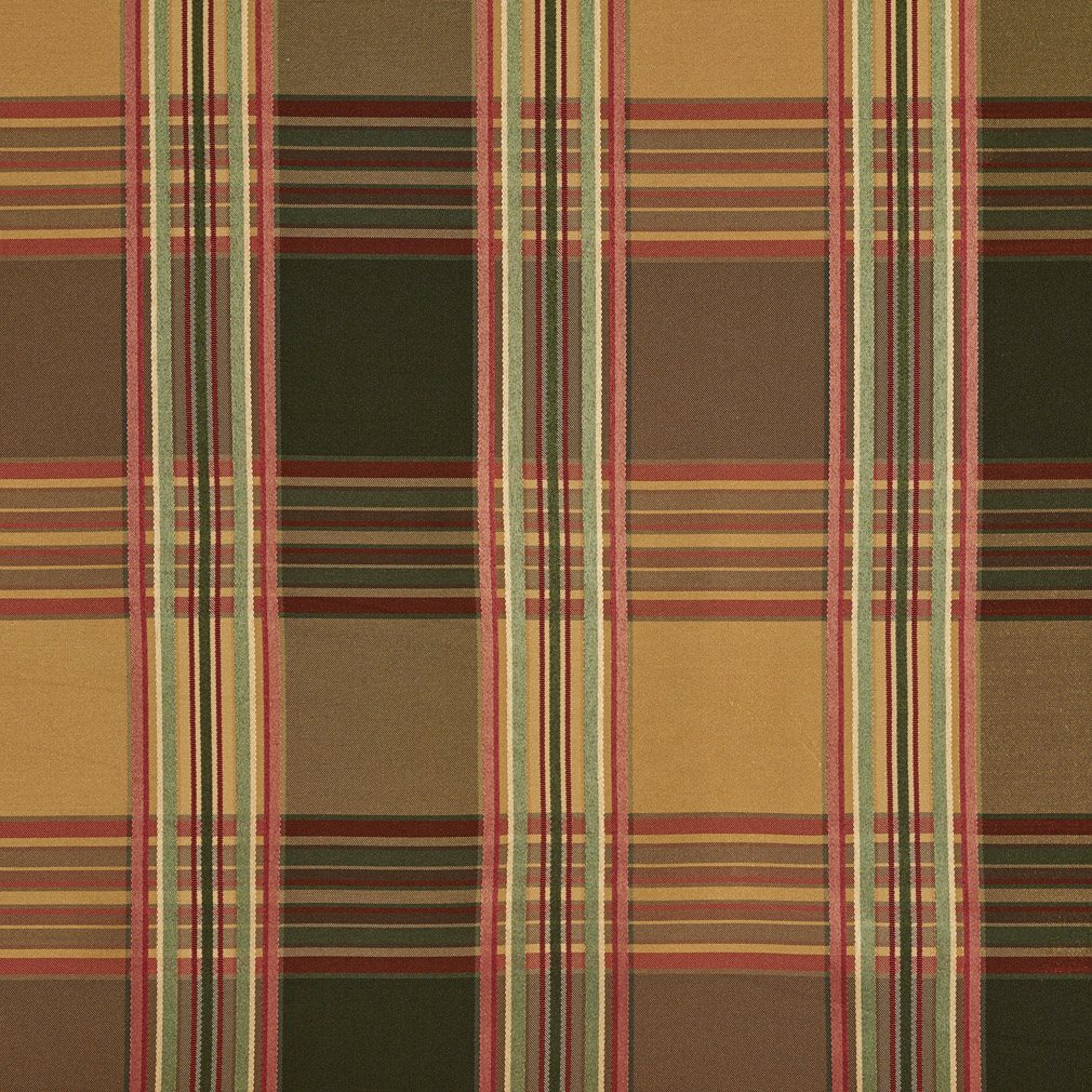 Beige And Dark Green Large Plaid Silk Look Pattern Damask