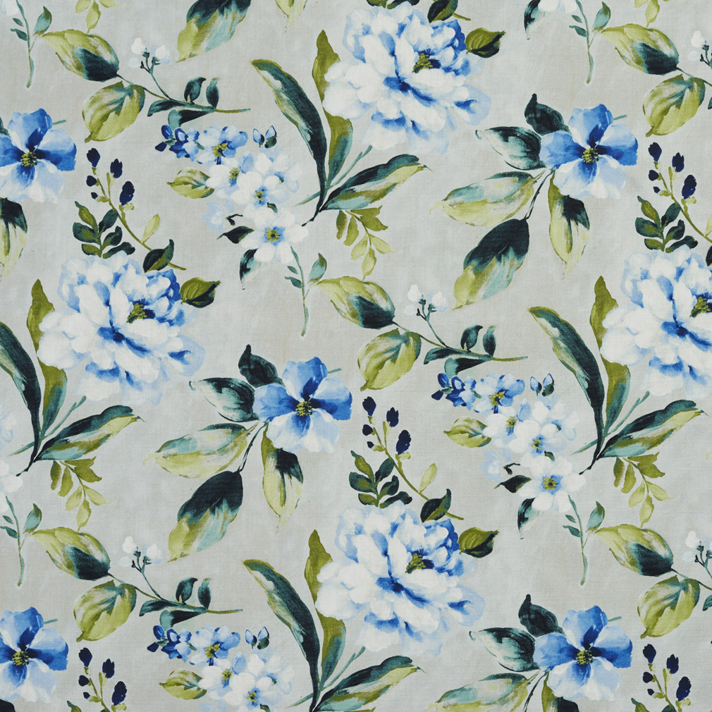 Aqua Green And Beige Large Floral Print Linen Upholstery