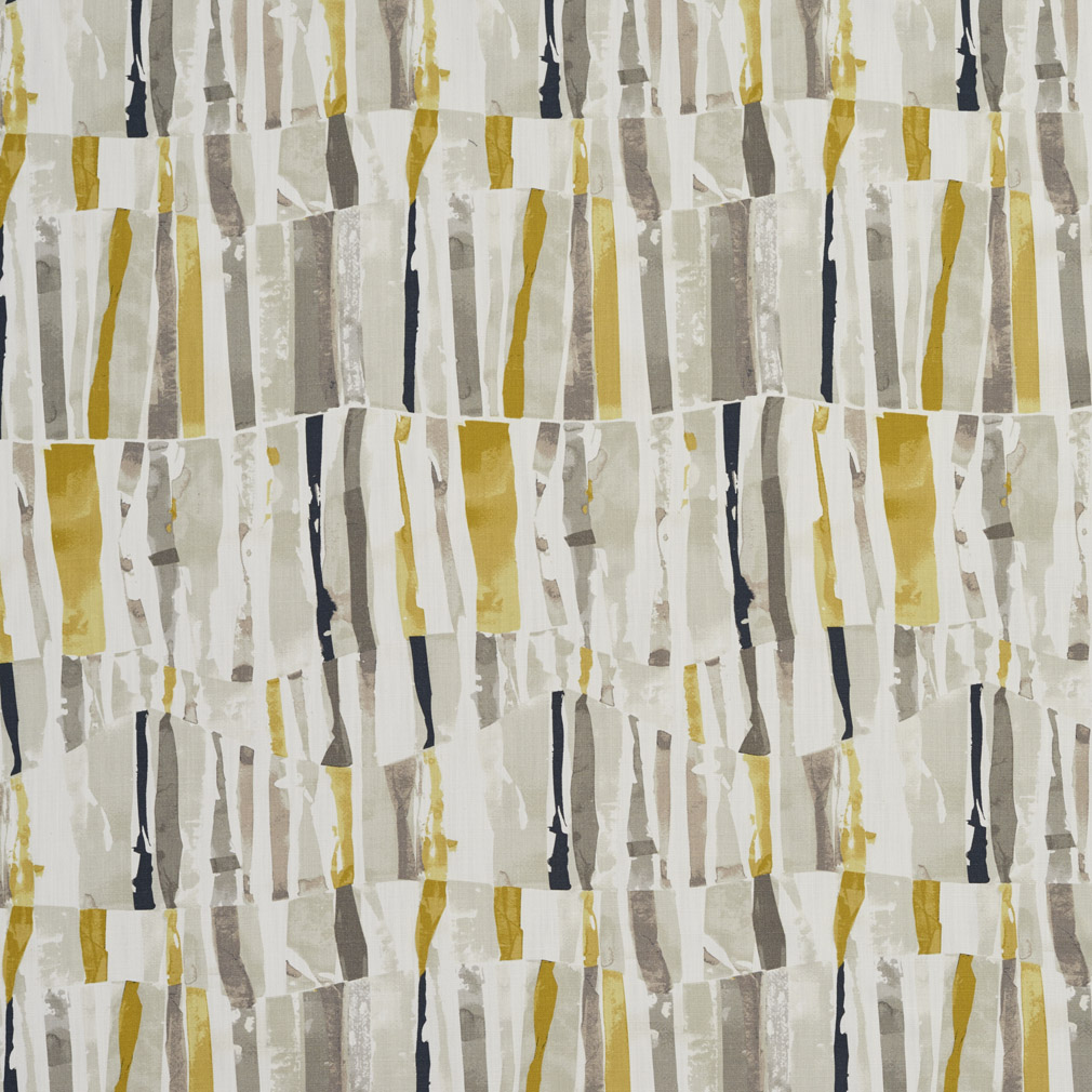 Beige Gold And Grey Abstract Stripe Print Linen Upholstery