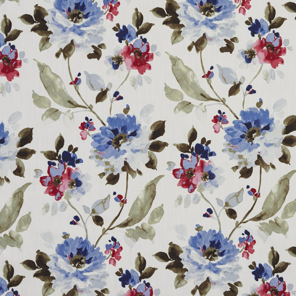 Burgundy Blue And Green Floral Print Linen Upholstery Fabric