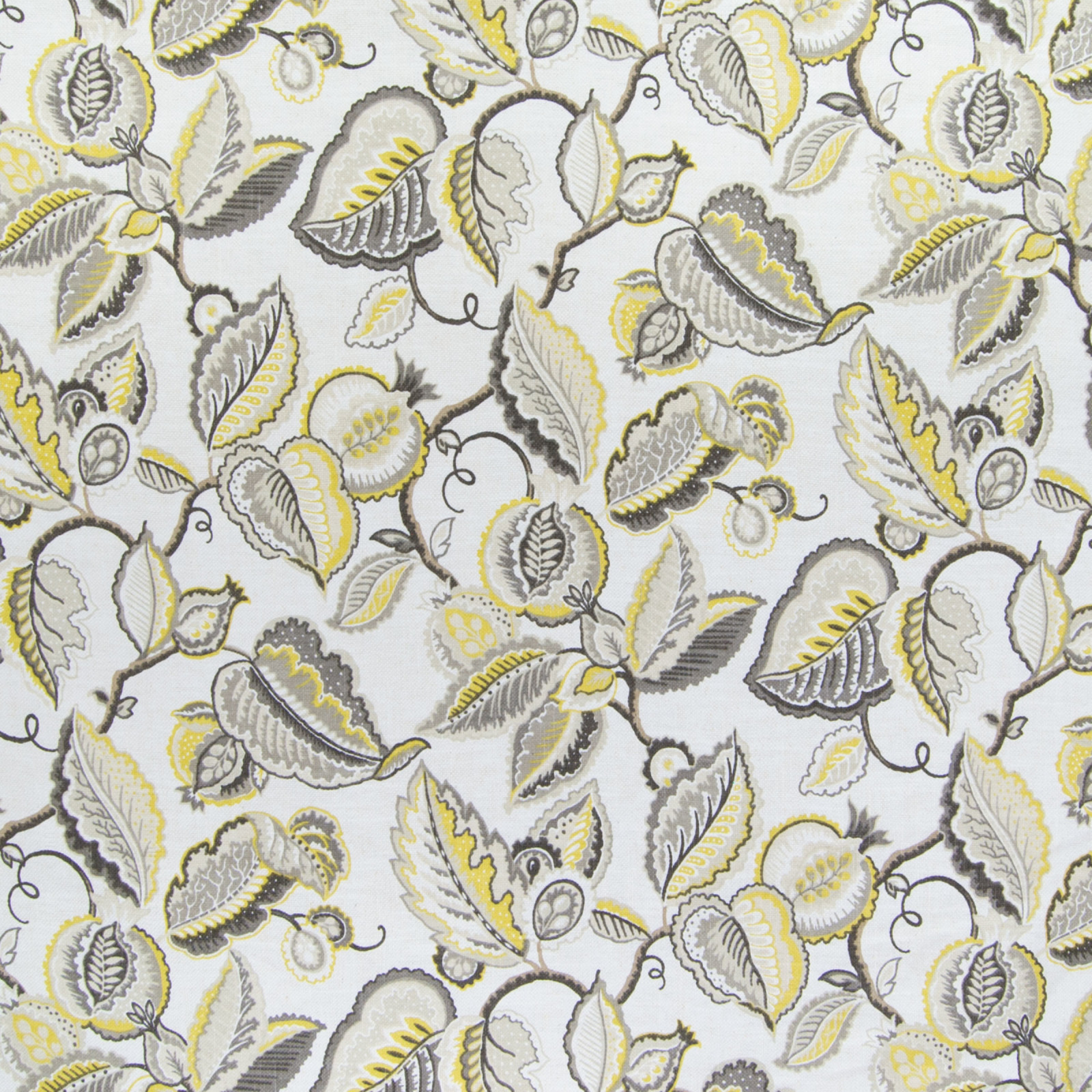 Suede Upholstery Fabric >> Pumice Yellow and Gray Foliage Print Upholstery Fabric