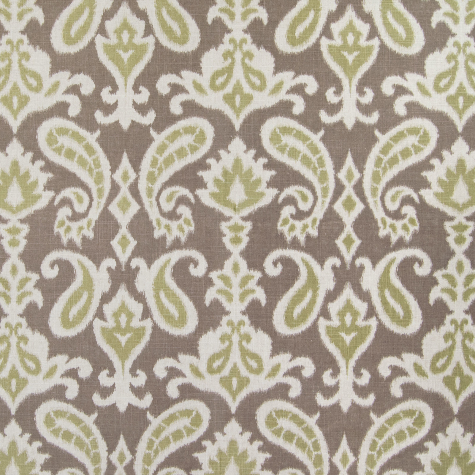 Taupe Green And Brown Ikat Jacquard Upholstery Fabric