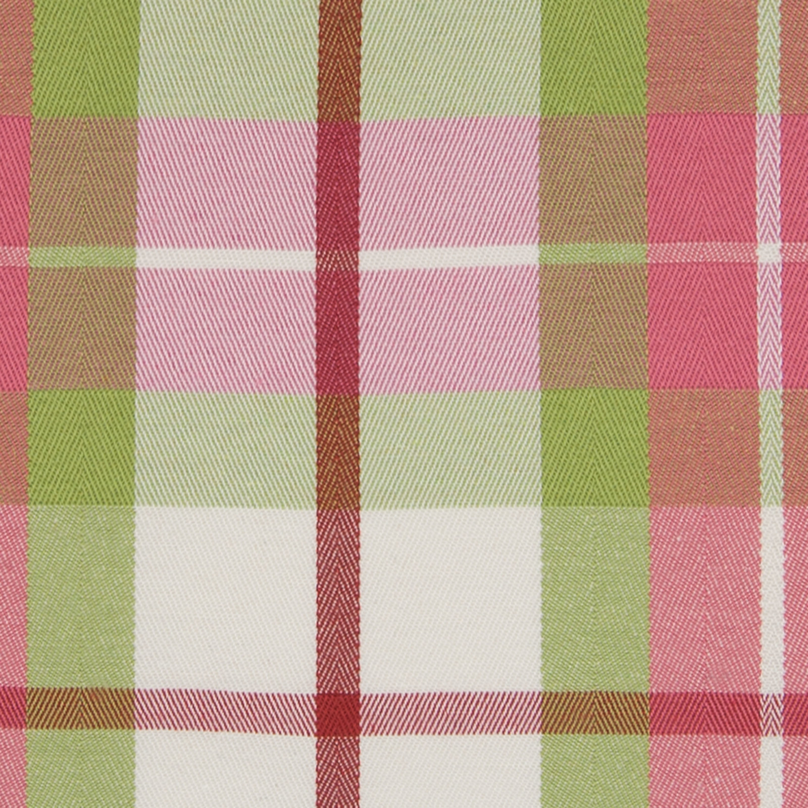 Melon Pink And Green Plaid Woven Upholstery Fabric