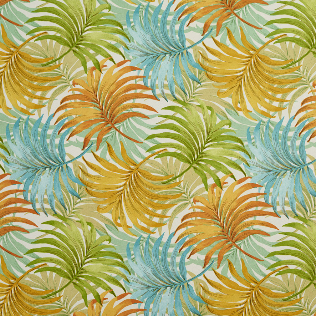 Valencia Aqua And Coral Beach Prints Drapery And