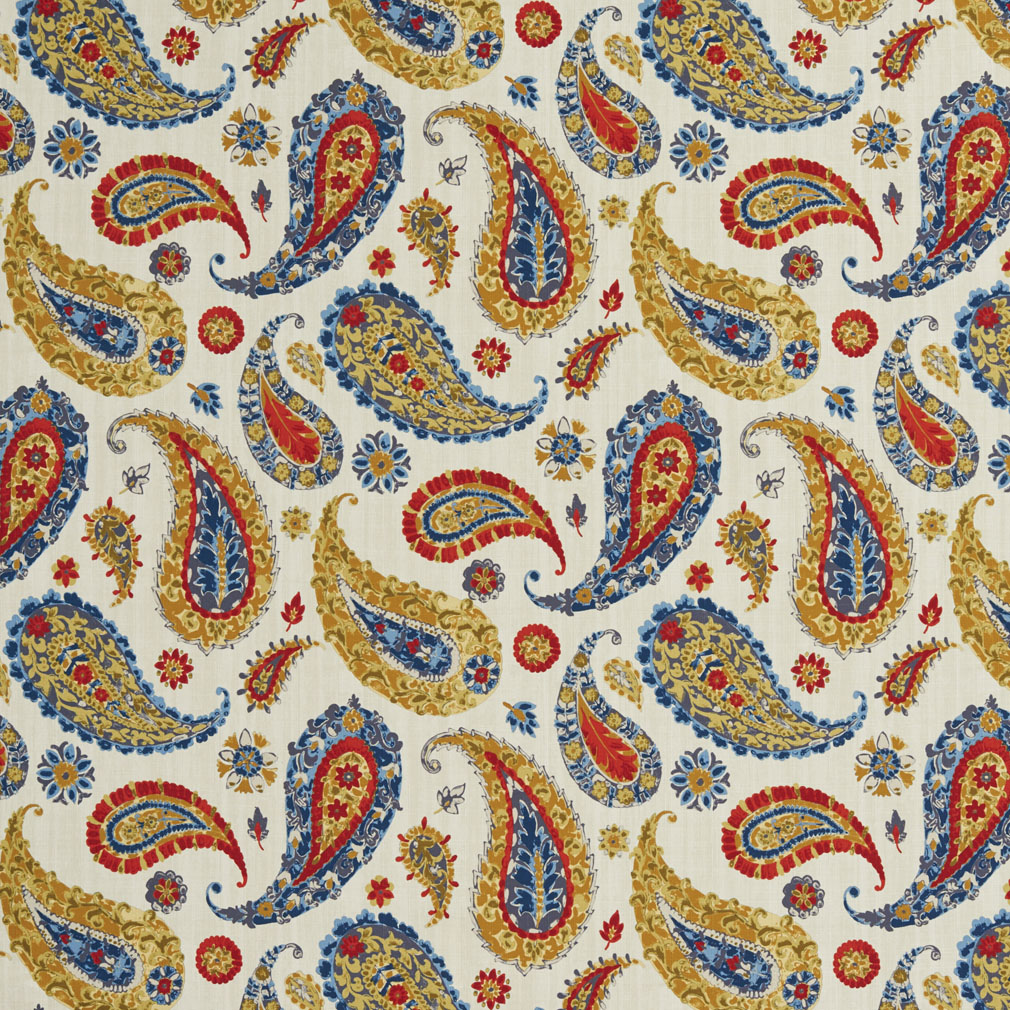 Burgundy And Blue On Beige Large Paisley Print Intricate