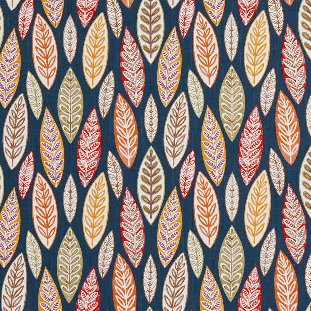 Red And Brown Modern Artistic Large Leaf Print Linen