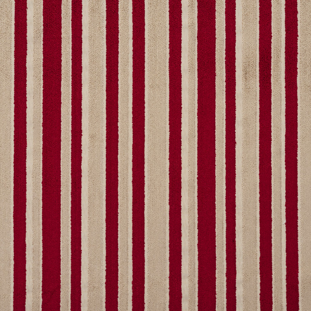 Tan And Burgundy Red Small Scale Velvet Stripe Upholstery