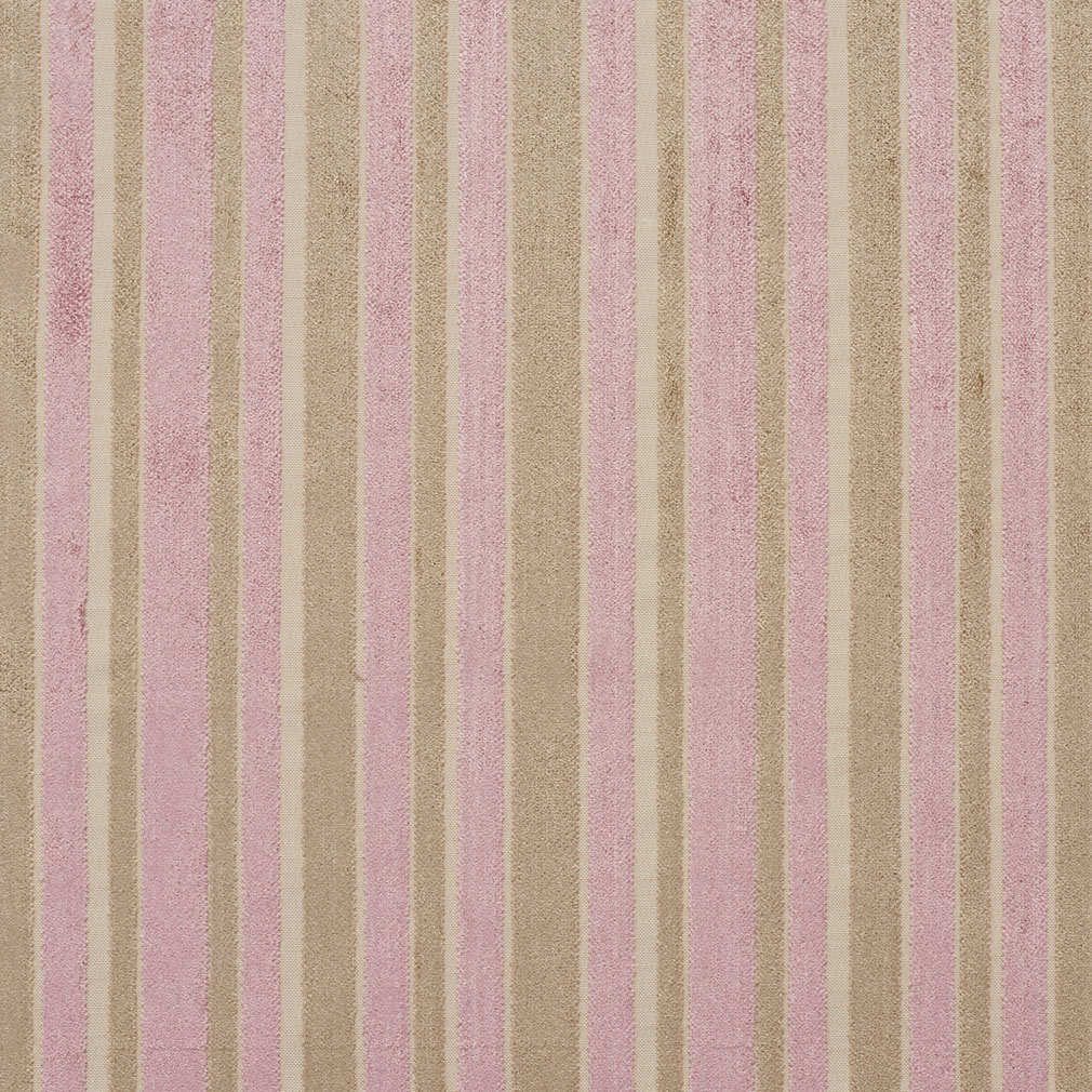 Beige Tan And Pink Small Scale Velvet Stripe Upholstery Fabric