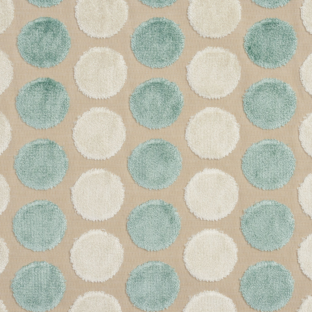 Aqua And White Soft Velvet Polka Dot Pattern Upholstery Fabric