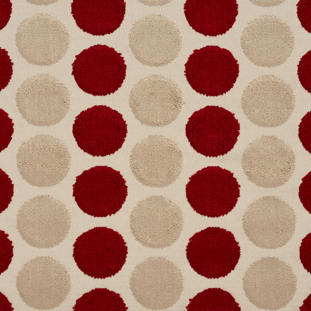 Beige And Burgundy Wine Soft Velvet Polka Dot Pattern