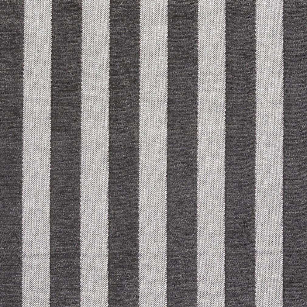 Black And Gray Medium Scale Stripe Chenille Upholstery Fabric