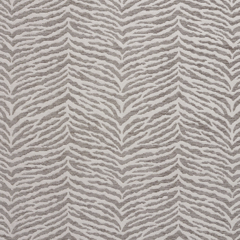 Gray And White Silver Tiger Print Chenille Upholstery Fabric