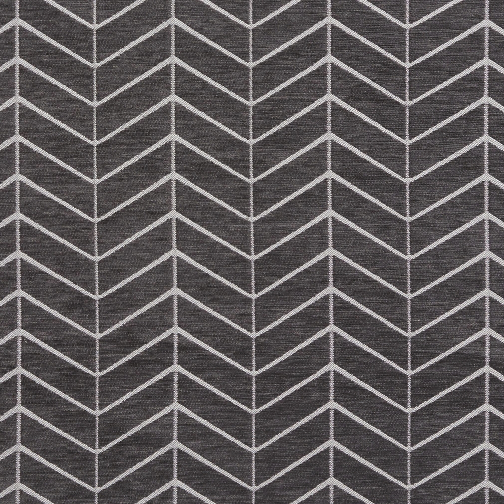 Black And Gray Abstract Chevron Flame Stitch Chenille Upholstery
