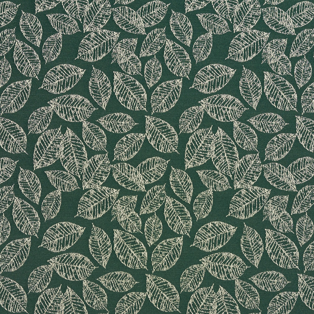 Alpine Green And White Small Decorative Leaf Pattern