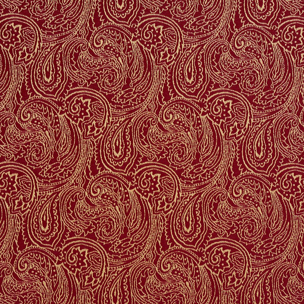 Crimson Burgundy And Gold Abstract Decorative Paisley