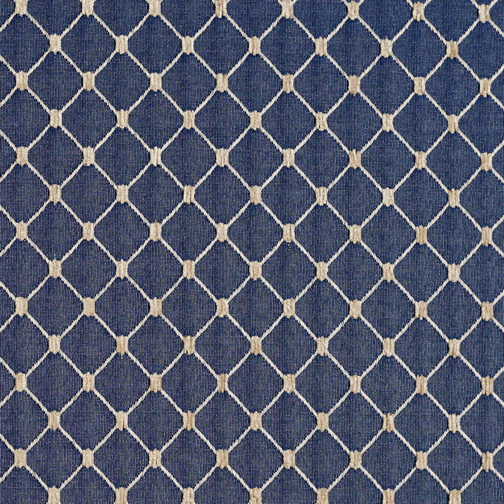 Wedgewood Beige And Blue Diamond Mesh Pattern Chenille