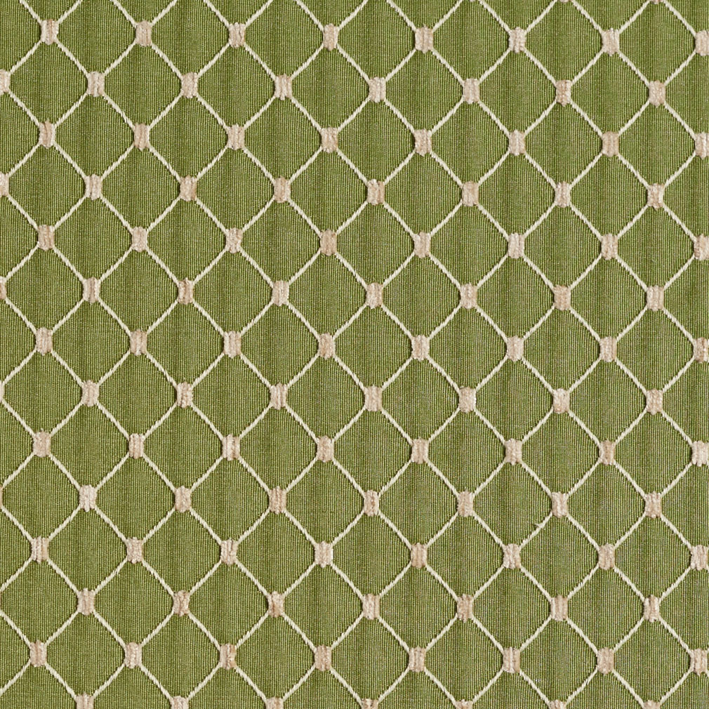 Fern Beige And Green Diamond Mesh Pattern Chenille