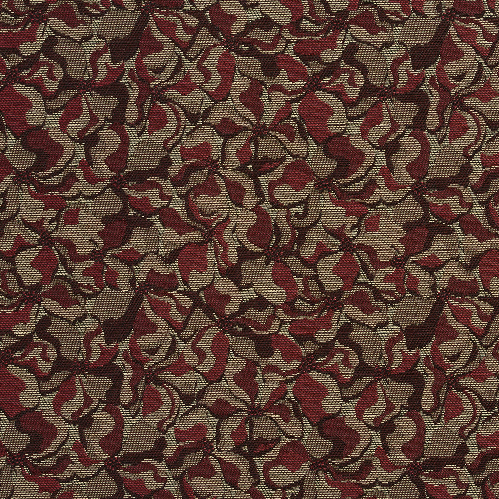 Wine Beige And Burgundy Small Scale Damask Upholstery Fabric