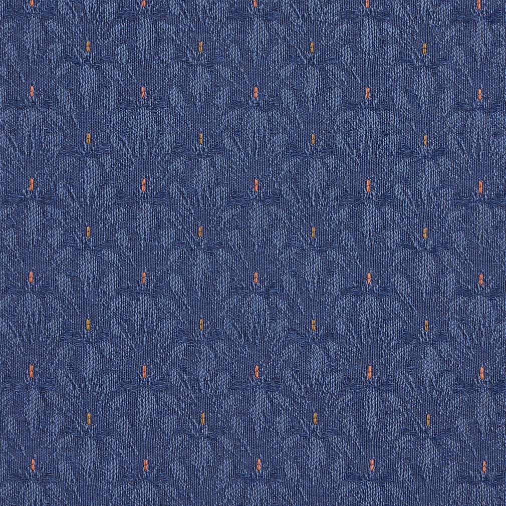 Navy Dark Blue Small Scale Brush Floral Damask Upholstery