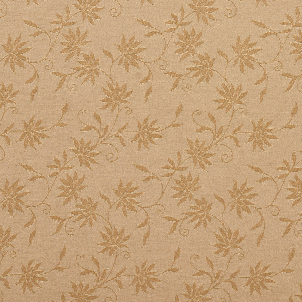 Camel Beige Tone On Tone Woven Small Floral Pattern Damask