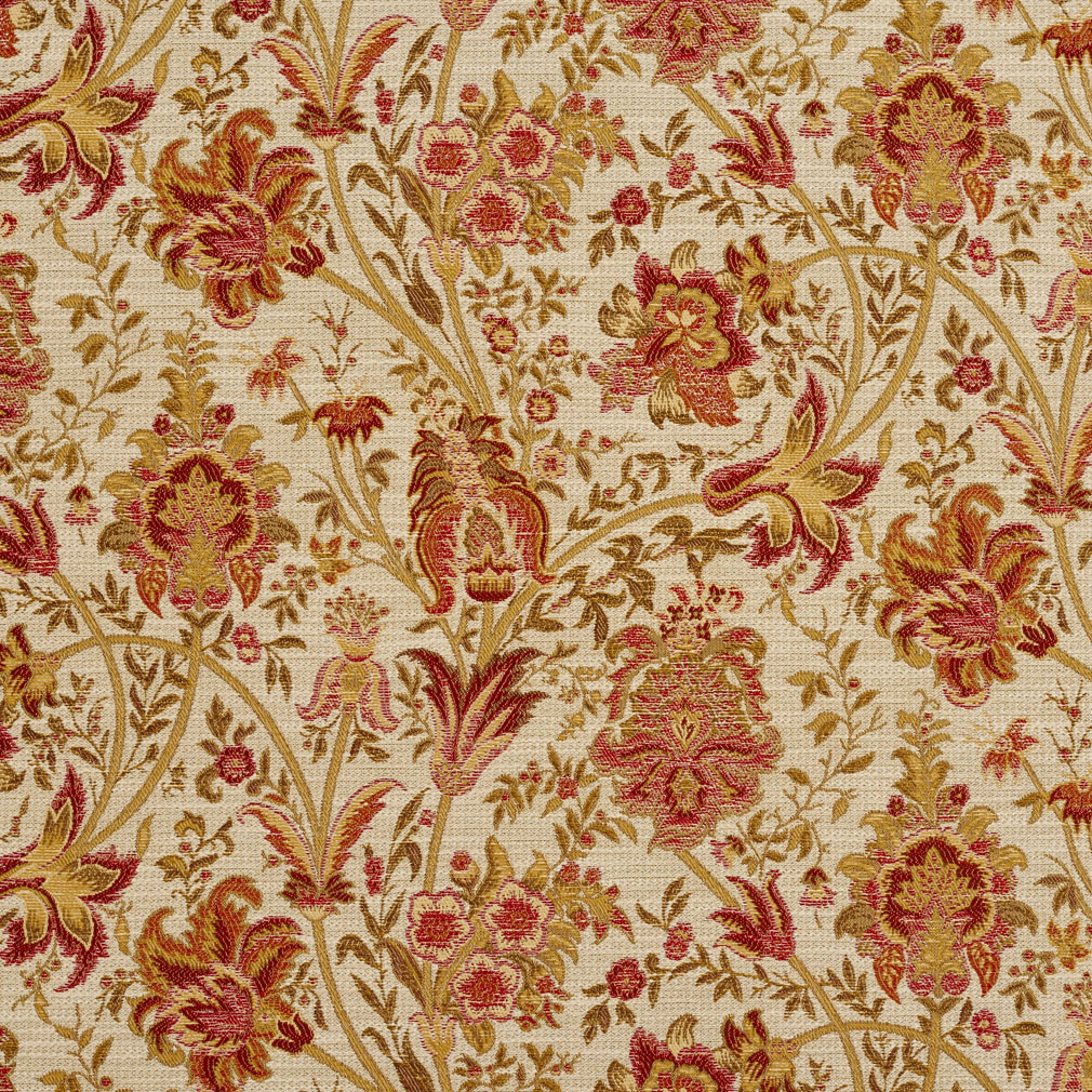 Tuscany Beige And Burgundy Ornate Large Flower Pattern