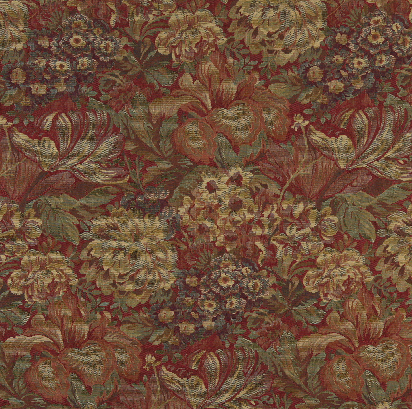 Beige And Burgundy Victorian Floral Garden Tapestry Upholstery