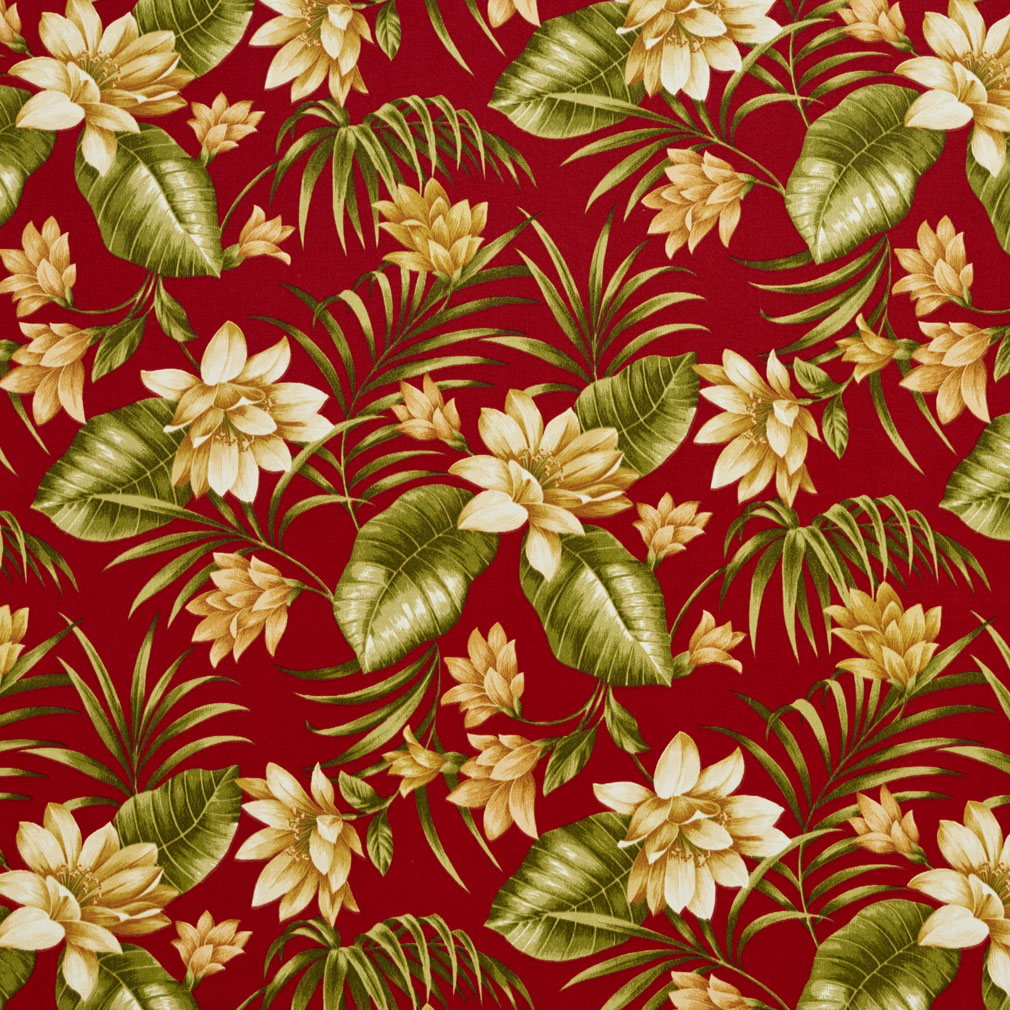 Beige And Burgundy Hawaii Large Tropical Flower Upholstery