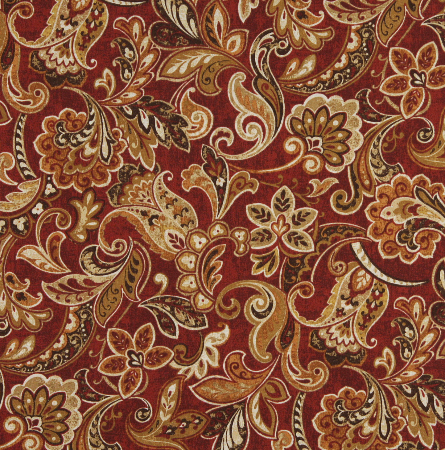 Red Beige And Brown Large Floral Paisley Upholstery Fabric