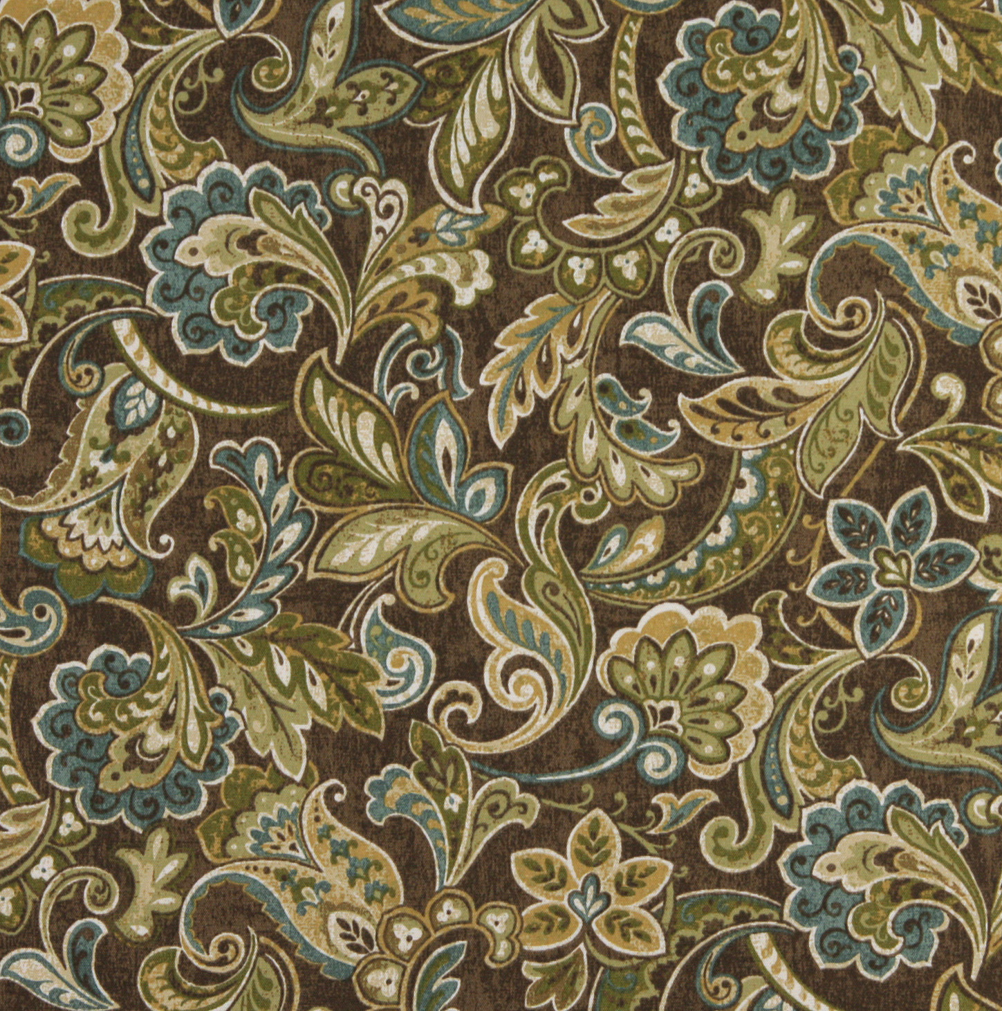 Mocha Aqua And Beige Large Floral Paisley Upholstery Fabric