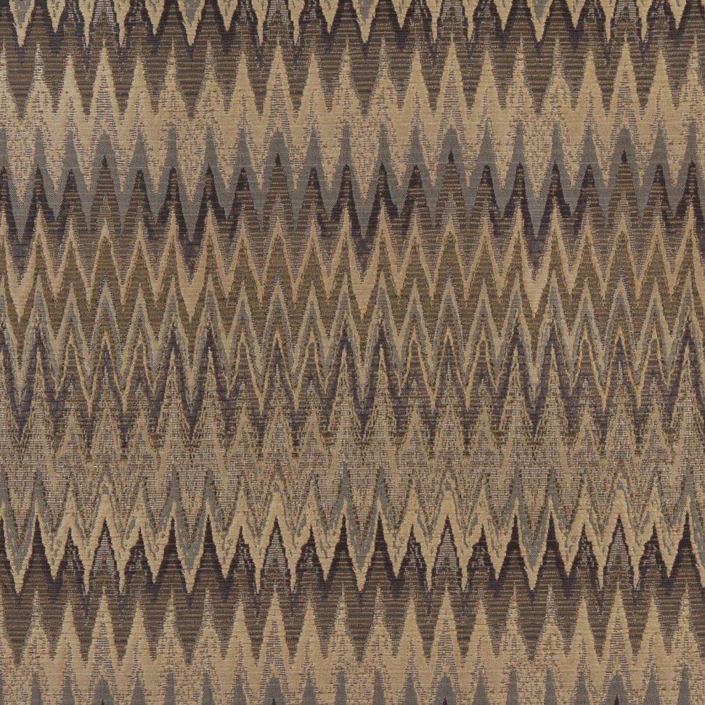 Desert Flame Beige And Brown Large Chevron Pattern Brocade