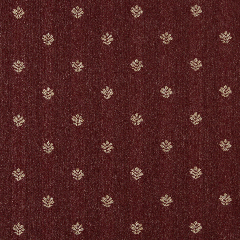 Burgundy And Beige Small Leaf Of Fern Pattern Country