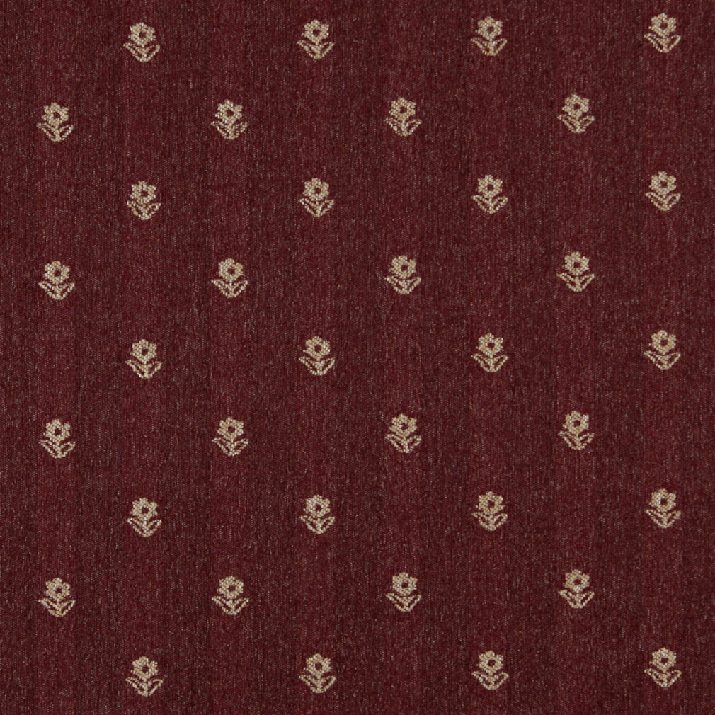 Burgundy And Beige Small Decorative Flower Country Pattern
