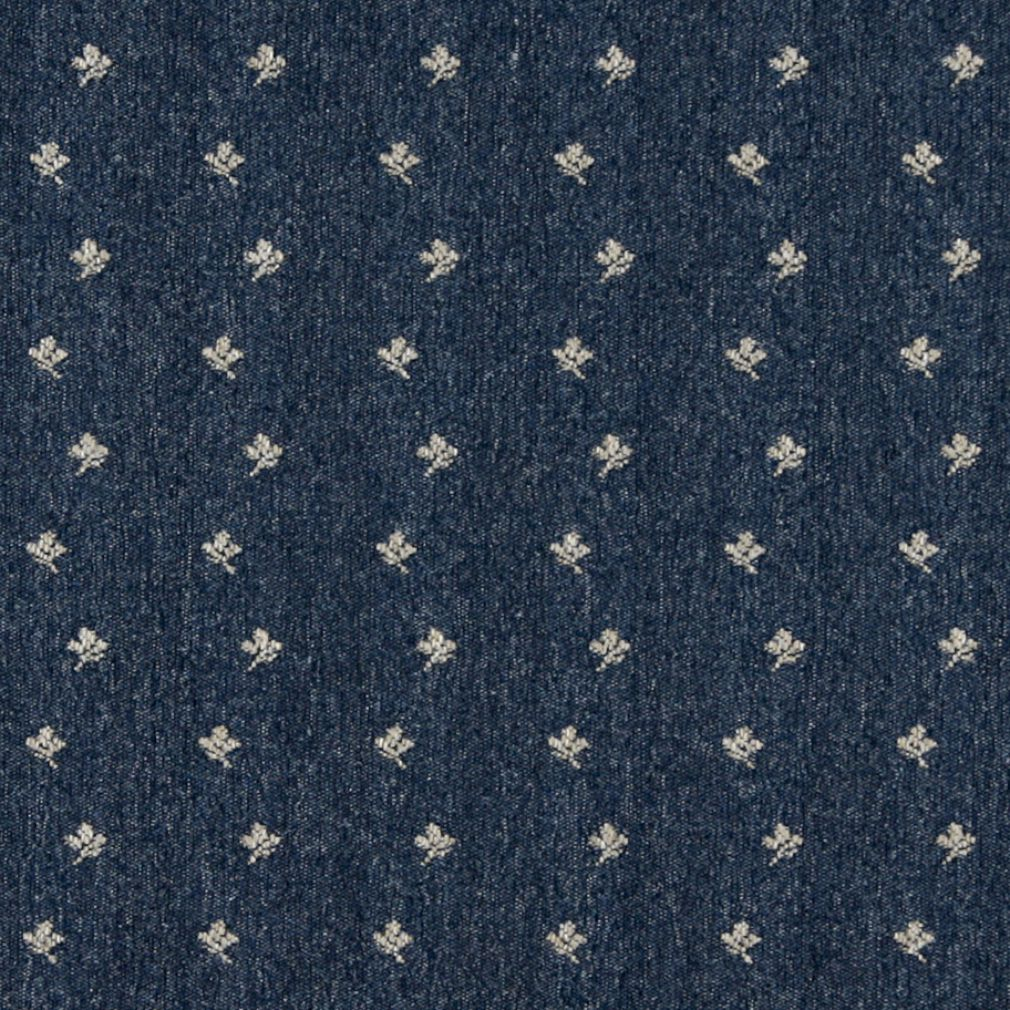Denim Blue and White Small Posey Flower Country Pattern