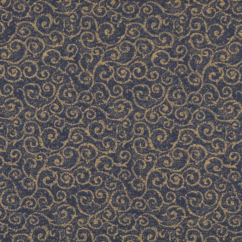 Navy Blue And Gold Abstract Scroll Or Swirl Pattern Damask