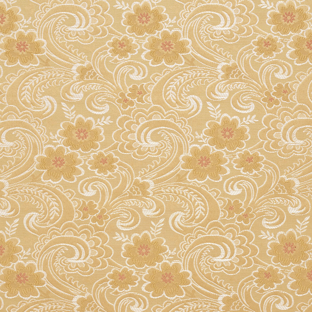 Gold And Coral Intricate Vintage Paisley Flower Brocade