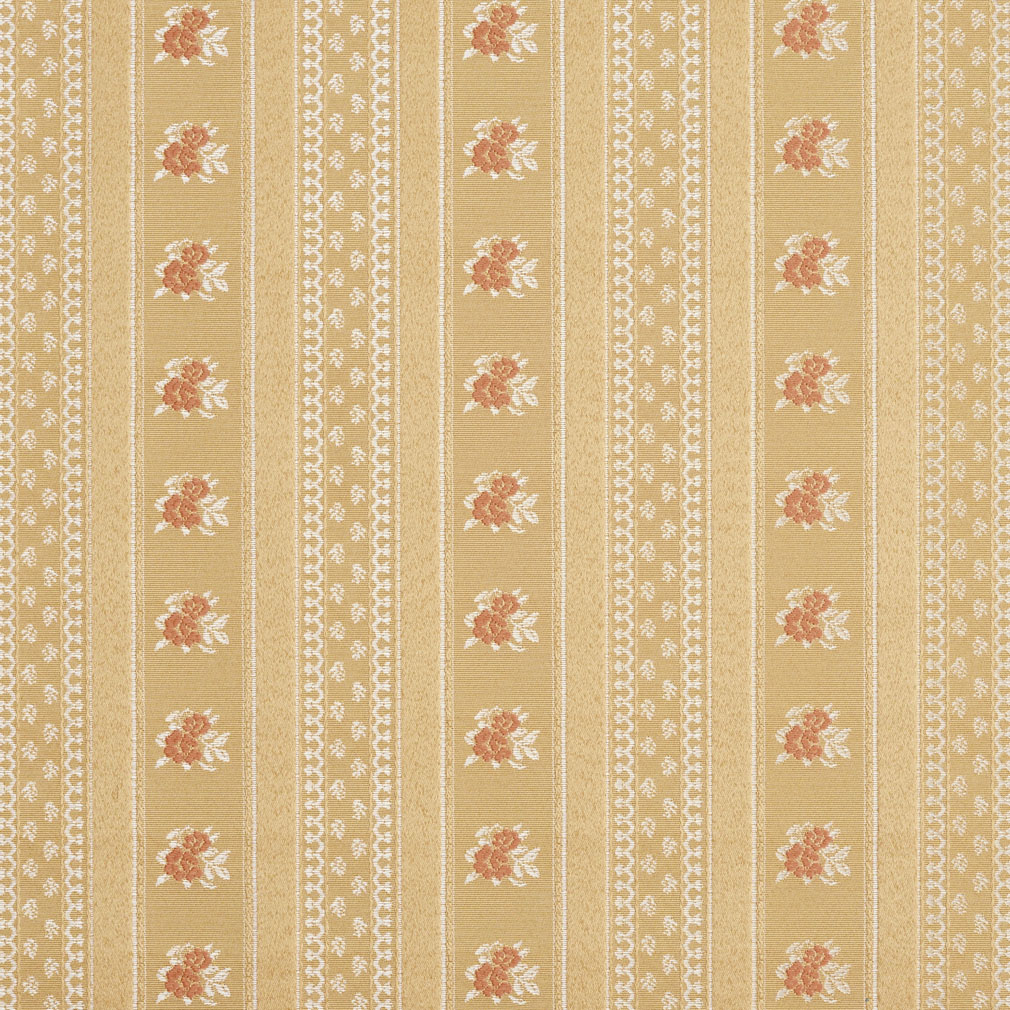 Gold And Coral Victorian Stripe Floral Accent Brocade
